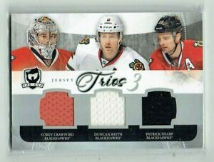 11-12 UD The Cup Trios  Corey Crawford--Duncan Keith--Patrick Sharp  /25 Jerseys