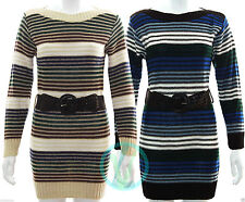 Long Sleeve Casual Striped Jumper Dresses