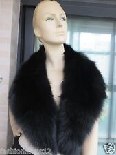 Real Handmade Fox Fur Collar For Coat/Scarf /black 100cm*17cm