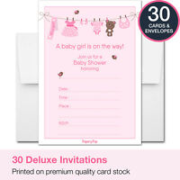 30 Baby Shower Invitations Girl (with Envelopes) - Decorations Supplies Games