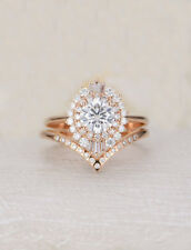 Engagement Ring With Band 10K Rose Gold 4.23 Ct Near White Round Cut Moissanite