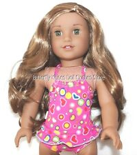 Heart Print Monokini Bathing Swimsuit 18 in Doll Clothes Fits American Girl