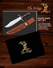 """Elk Ridge Full Tang Fixed Blade Bowie Knife Gift Set 14.5"""" Overall"""