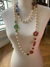 RARE COUTURE VINTAGE CHANEL GRIPOIX GLASS FLOWER PEARL NECKLACE