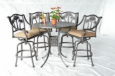 "Palm Tree Outdoor Patio Furniture 5Pc Set Bar Table 42"" Cast Aluminum"