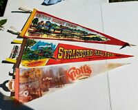 LOT 3 VINTAGE FELT SOUVENIR PENNANTS STRASBURG RAILROAD KNOTT'S BERRY FARM