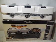 West Bend Triple Cooker Serving Station Slow Cooker 3 Crock Pots MD-QH4501 New