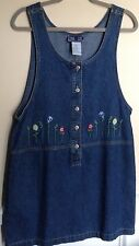 TRUE BLUE Vintage Jean Jumper Dress With FLOWER EMBROIDERY Size Med Hippie