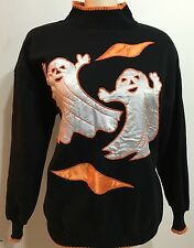 Unisex Halloween Costume Ugly Sweater Black And Orange Ghost Picture Sz Medium