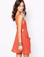 NWT:  Free People Lace Poppy Cutout Mini Dress in Persimmon MSRP $108.00   S
