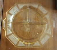"""VINTAGE YELLOW DEPRESSION 3 DIVIDED GRILL PLATE CLEAR W/ ETCHED DESIGN 10 1/4"""""""