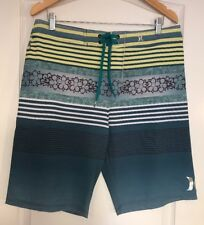 HURLEY MENS phantom BOARD SHORTS SWIM TRUNK size 32  Blue green, yellow, white