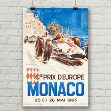 Monaco Grand Prix Vintage Car Racing Art Poster Canvas Print Ferrari Formula One