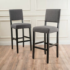 Set Of 2 Bridgewell Gray Fabric Bar Stools