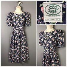 Vintage Laura Ashley Navy Floral Cotton Retro Dress UK 14 EUR 40 USA 12