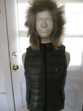 American Eagle AEO Get Down Light Weight Hooded SOFT Puffer Vest  GREEN MED