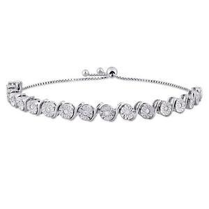Amour Sterling Silver Diamond Bolo Bracelet