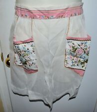 Vintage Mid Century Multi-Color Blue Pink Gold Floral Cotton Blend Pocket Apron