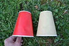 2 Abat jour anciens en papier cartonné - Un jaune et un rouge (A restyliser ?)