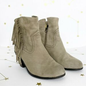 Sam Edelman Ankle Boots Size 7.5 Gray Suede Fringed Heeled Booties Louie Shoes