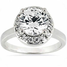 2.53 carat total Round cut Diamond Halo Engagement Solitaire 14K White Gold Ring