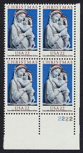 #2165 22c Madonna & Child by Robbia, Plt Blk [2222 LR] Mint **ANY 4=FREE SHIP**