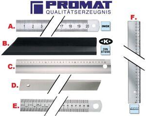 PROMAT Stahlmaßstab Werkstattlineal Haarlineal Maßstab Metall Maßstab ab 1,- !!!