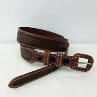 Vintage Justin Hand Tooled Top Grain Cowhide Leather Cowboy Belt sz 30; 36.25""