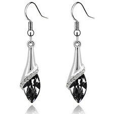 Classic Silver & Black Angel Eye Tear Drop Dangle Earrings E785