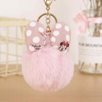 Cute Mickey Minnie Mouse Keychain Pom Pom Fluffy Fur Ball Car Bag Keyring Gift