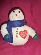 "Snowman wood Jesus warms my heart soft fleece 8"" country Christmas stuffed plush"