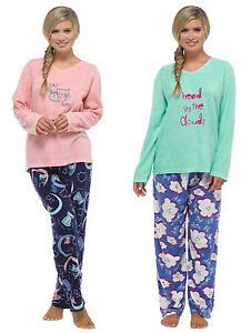 Ladies Fleece Pyjama Set with Embroidery Detail