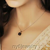 "Sterling Silver Chain With Black Freshwater Pearl Pendant Necklace 16""-18"""