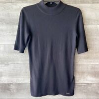 Tahari women's cashmere blend black short sleeve pullover soft sweater size: M