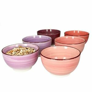 6er Set Lila Baita Bowl-Schalen 600ml Müsli Salat Dessert Schüssel Steingut