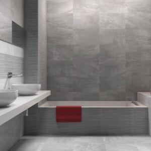 Grey Gloss Ceramic Wall Tiles 33 x 55 Room Deal