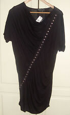 Gorgeous, Black, stretchy, knee length, cros-over style, dress.  Size 10. New.