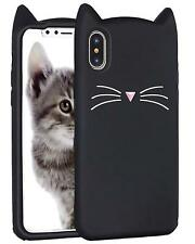 iPhone X & iPhone 10 - Soft Silicone Rubber Case Cover Black Cat Kitty Whiskers