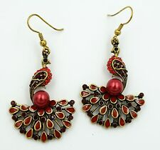 Peacock Drop Dangle Earrings Crystal Rhinestone Animal Bling Jewelry Red EA08