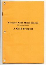 BOUSQUET GOLD MINES LIMITED A GOLD PROSPECT Canadian Mine Report 1933 History
