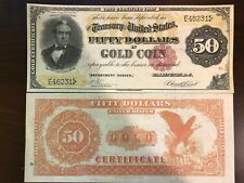 Reproduction $50 Bill Gold Certificate 1882 Silas Wright US Currency Paper Money