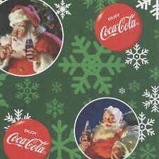Coca Cola Santa Christmas Holiday Circles Print Concepts Green #3486 By the Yard