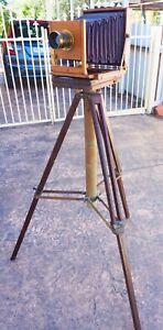 Antique Tripod~suitable for large vintage camera, all ?Oak