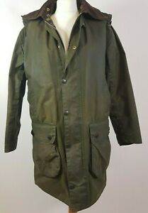 Barbour Boarder Waxed Jacket Tartan Ladies Green Hunting Coat Size C36/91cm