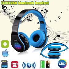 4in1 Wireless Bluetooth Kopfhörer Stereo Mic MP3 Player FM Radio MicroSD TF Blue