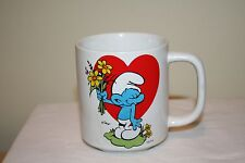 Bashful Smurf Mug With Heart and Flowers NEW