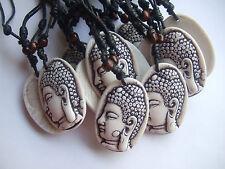 Wholesale 12pcs Wax Cotton Cord Faux Yak Yone Buddha Pendant Fashion Necklace