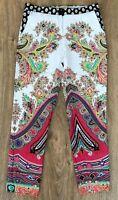 ETRO womens ladies white multicolor paisley floral dress trousers pants size 40