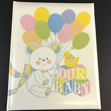 Vintage Hallmark Our Baby Book Teddy Bear Balloons Memory Record Album