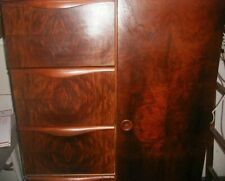 Antique 1930s Art Deco Burl Walnut Cedar Closet Wardrobe Streamline w 5 Drawers